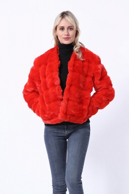 Red Tiered Faux Fur Coat with Full Fur Collar and Cuffs_4