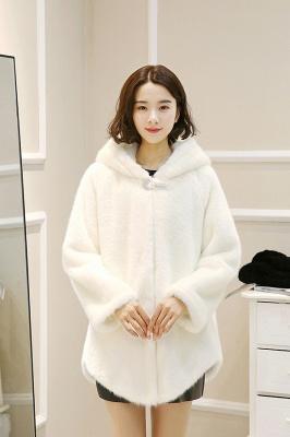 Black Cape Type Hooded Faux Fur Coat_1