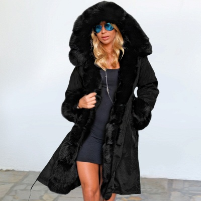 Premium Fur Trimmed Parka Coat with Faux Fur Hood_8
