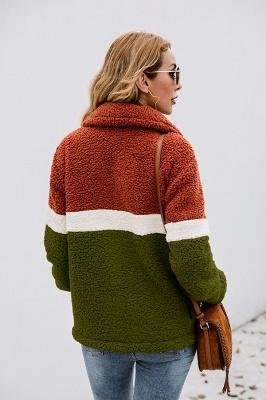 Women's Winter Multi Color Patchwork Faux Shearling Coat_16