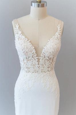 Cheap Floor Length Lace Chiffon Sheath Wedding Gowns_7