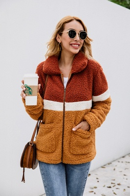 Women's Winter Multi Color Patchwork Faux Shearling Coat_8