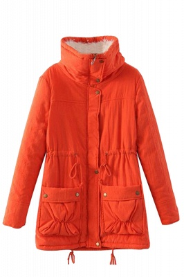 Women's Fashion Hunt Lamb Wool Collar Parka Coat_27