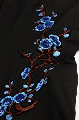 Vintage 1/2 Sleeve Wintersweet Embroidery Black Swing Dress_23