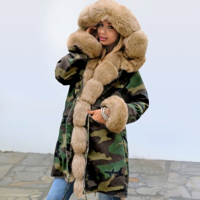 Camo Military Premium Fur Trim Parka Coat with Faux Fur Hood_2