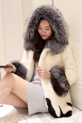 Women's Fashion Hooded White Fox Fur Coat_7