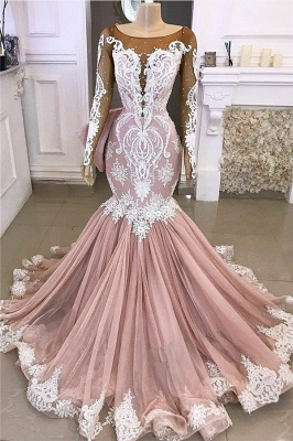 Exquisite Round Neckline Sheer Long Sleeves Mermaid Appliques Prom Dresses_1