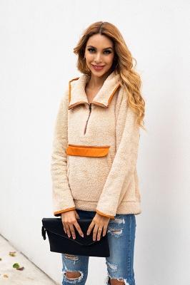 Women's Fall Winter Halp Zip Fuzzy Pullovers With Pockets_7