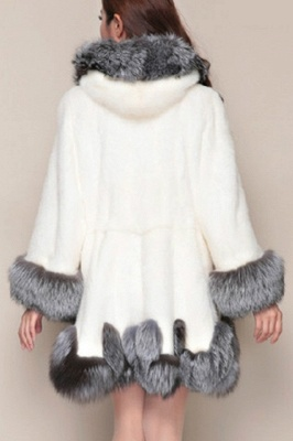 Women's Fashion Hooded White Fox Fur Coat_8