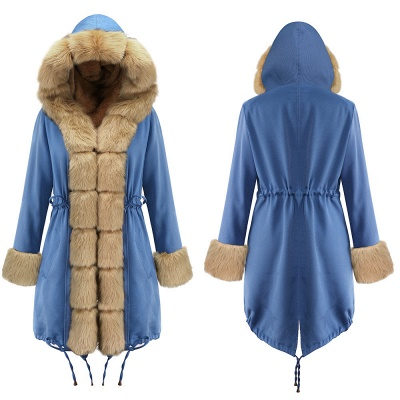 Parka Coat with Premium Fur Trim and Faux Fur Hood_19