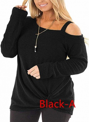 Colorful Cold Shoulder Ruffled Knot Blouse Sweatshirts with Sleeves_6