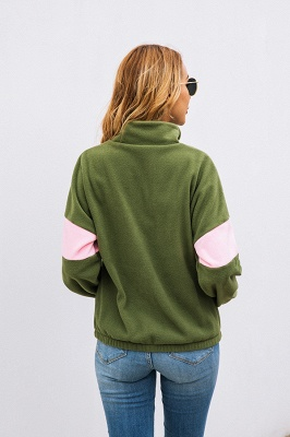Women's Winter Patchwork Halp Zip Fuzzy Pullovers_15