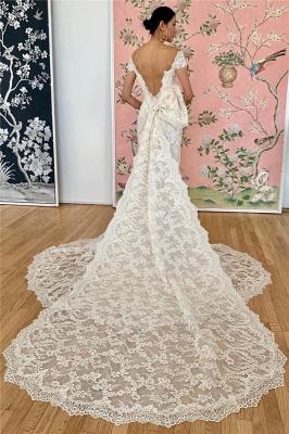 Gorgeous Off the Shoulder Sweep Train Keyhole Mermaid Lace Wedding Dresses_2