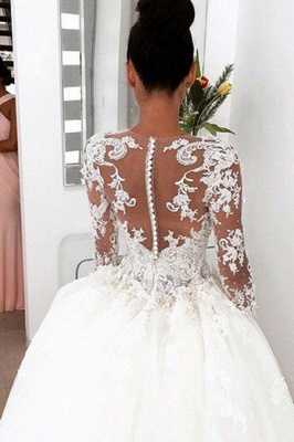 Charming Princess Ball Gown Wedding Dresses | 3D-Floral Appliques Long Sleeves Bridal Gowns_3