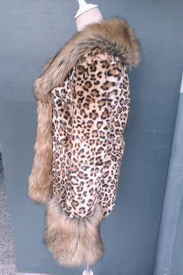 Leopard Print Faux Fur Taffeta Coat With Premium Fox Fur Trim_8