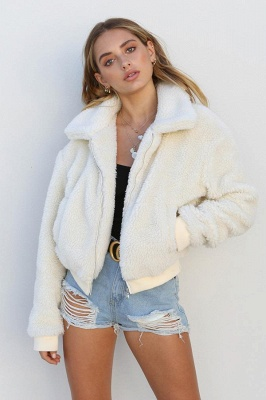 Thick Oversized Faux Shearling Coat with Zipper_17