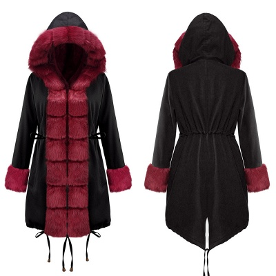 Premium Fur Trimmed Parka Coat with Faux Fur Hood_16