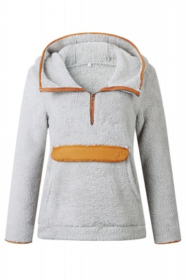 Women's Fall Winter Halp Zip Fuzzy Pullovers With Pockets_3
