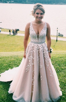2019 Pink Prom Dress V-Neck Lace Appliques A-line Evening Gowns_3