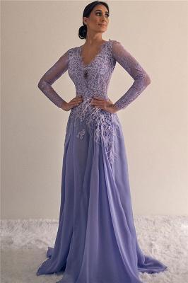 Elegant Long Sleeves V-neck A-line Lace Appliques Prom Dresses_1