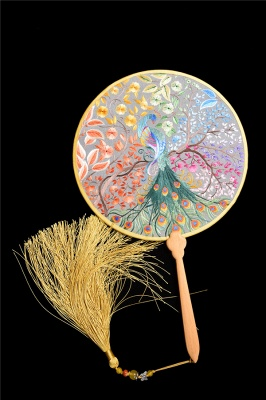 Chinese Retro Hand-Stitched Decoration Circular Fan With Hand Tassels_6