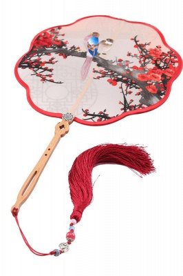 Traditional Double-faced Hand-Stitched Decoration Chinese Palace Fan With Hand Tassels