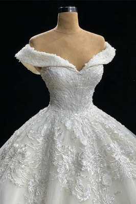 Gorgeous Off-The-Shoulder Ball-Gown Appliques Wedding Dress_2