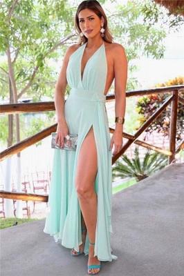 Easy Designed Halter A-line V-neck Side Slit Prom Dresses_1
