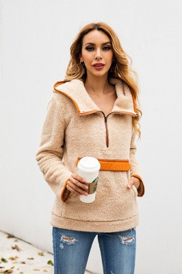 Women's Fall Winter Halp Zip Fuzzy Pullovers With Pockets_6