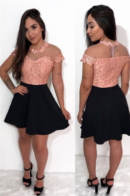Lovely Lace A-line Homecoming Dresses | Pink Black Cocktail Dress_1