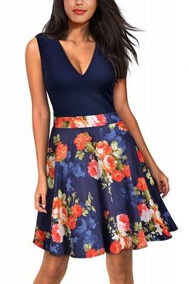 V-neck Sleeveless Above Knee Patchwork Dress_4