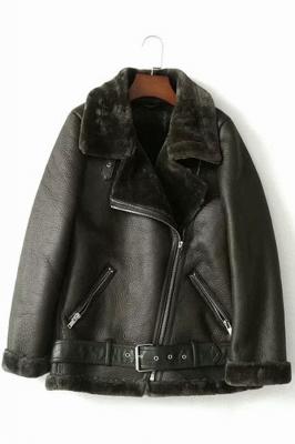Women's Winter Velvet Pu Leather Jacket_3