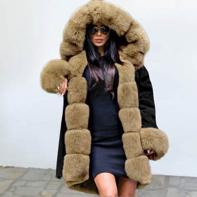 Premium Fur Trimmed Parka Coat with Faux Fur Hood_2