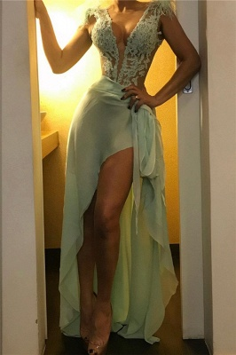 Green Straps Lace Appliques Sexy See-Through Prom Dresses with Chiffon Bottom_1