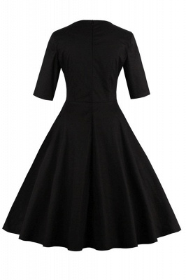 Vintage 1/2 Sleeve Wintersweet Embroidery Black Swing Dress_5