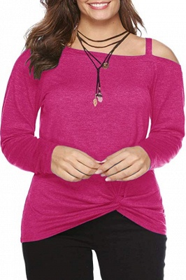 Colorful Cold Shoulder Ruffled Knot Blouse Sweatshirts with Sleeves_2