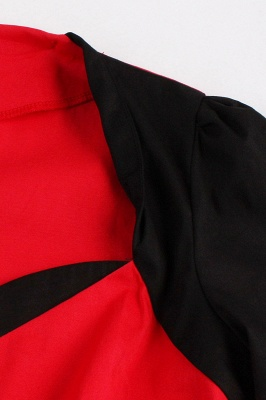 1/2 Sleeve 1950S Red and Black Retro Dress_4