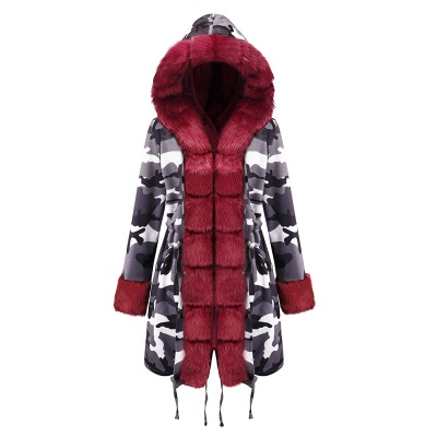 Camo Military Fur Lined Parka Coat with Faux Fur Hood_28