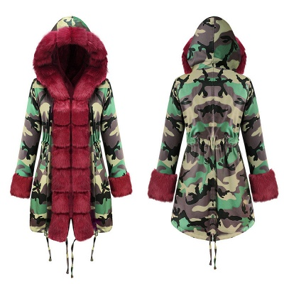 Camo Military Premium Fur Trim Parka Coat with Faux Fur Hood_15