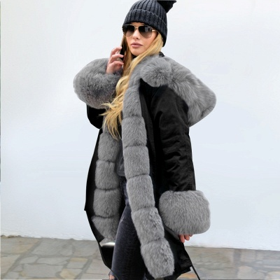 Premium Fur Trimmed Parka Coat with Faux Fur Hood_39