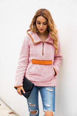 Women's Fall Winter Halp Zip Fuzzy Pullovers With Pockets_16
