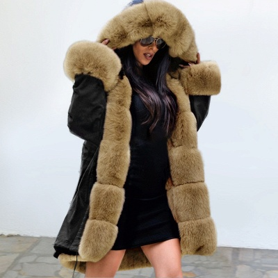 Premium Fur Trimmed Parka Coat with Faux Fur Hood_31