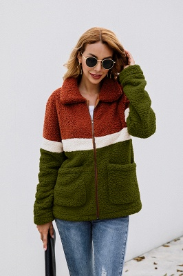 Women's Winter Multi Color Patchwork Faux Shearling Coat_15