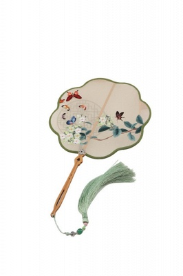 Chinese Vintage Double-Sided Hand-Embroidered Court Fan With Tassel Pendant_1