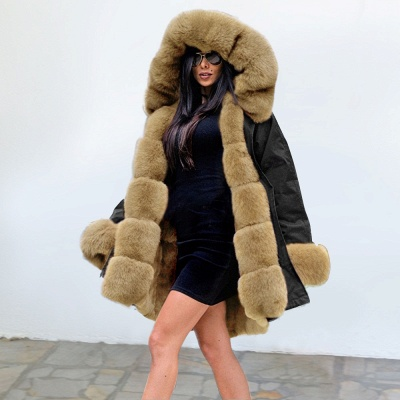 Premium Fur Trimmed Parka Coat with Faux Fur Hood_24