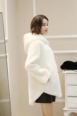 Black Cape Type Hooded Faux Fur Coat_13