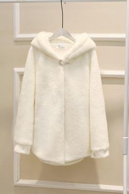 Black Cape Type Hooded Faux Fur Coat_25