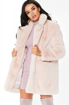 Yellow Stick Up Neckline Medium Long Fuzzy Coat_3