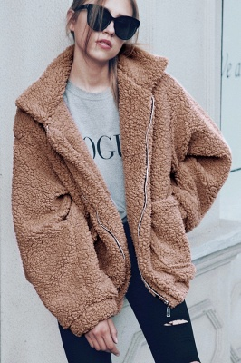 Oversize Fuzzy Jacket in Brown with Zipper_29