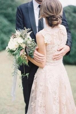 Elegant Tulle  Sleeveless Sweep Train Applique V-neck Wedding Dresses_3
